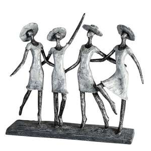 Ladies Poly Design Sculpture In Antique Anthracite And Silver