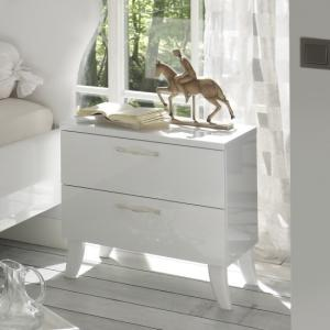 Lagos Bedside Cabinet In High Gloss White With 2 Drawers