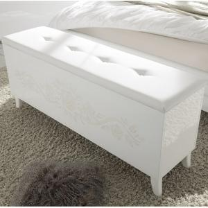 Lagos Storage Bench In High Gloss White With PU Seat