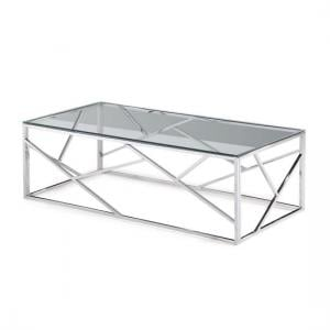 Lamont Glass Coffee Table With Polished Stainless Steel Frame