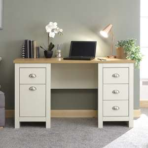 Valencia Wooden Study Desk In Cream With 1 Door And 4 Drawers