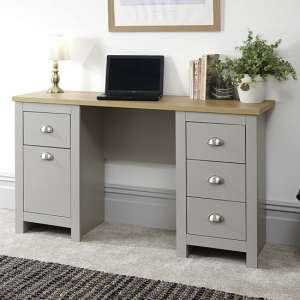 Valencia Wooden Study Desk In Grey With 1 Door And 4 Drawers