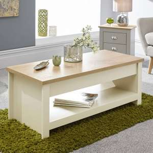 Valencia Wooden Lift Up Coffee Table In Cream And Oak