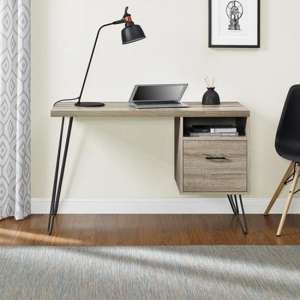 Landon Wooden Laptop Desk In Distressed Grey Oak