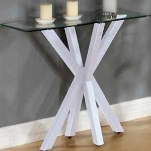 Alissa High Gloss White Finish Clear Glass Top Console Table
