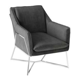 Lara Velvet Fabric Lounge Chair In Dark Grey