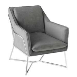 Lara Velvet Fabric Lounge Chair In Silver Grey