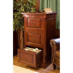 Belarus Filing Cabinet In Mahogany With 3 Drawers