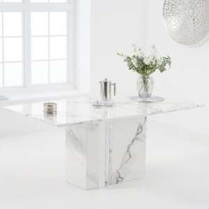Laster Marble Rectangular Dining Table In White Finish