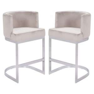 Lauro Beige Velvet Bar Chairs In Pair With Silver Legs