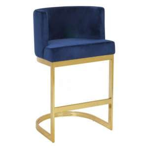 Lauro Blue Velvet Bar Chair With Gold Stainless Steel Legs