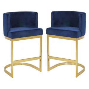 Lauro Blue Velvet Bar Chairs In Pair With Gold Legs