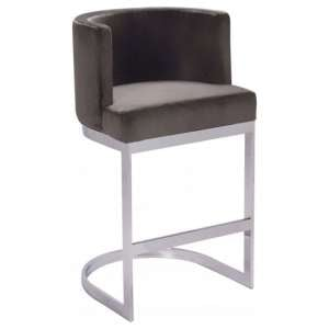 Lauro Grey Velvet Bar Chair With Silver Stainless Steel Legs