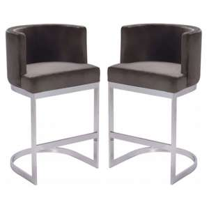 Lauro Grey Velvet Bar Chairs In Pair With Silver Legs