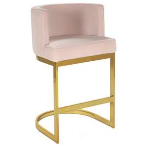 Lauro Pink Velvet Bar Chair With Gold Stainless Steel Legs