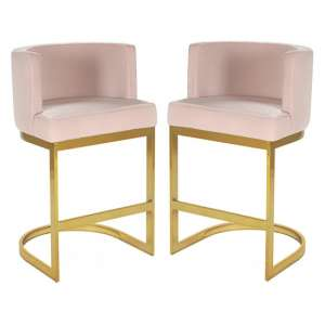 Lauro Pink Velvet Bar Chairs In Pair With Gold Legs