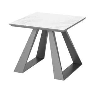 Lavante Ceramic And Glass Top Side Table In Light Grey