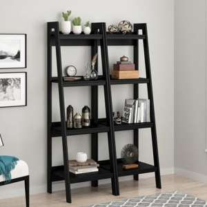 Lawrence Wooden Black Ladder Bookcase In Pair With 4 Shelves