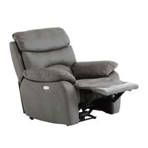 Layla Fabric Electric Recliner Armchair In Grey