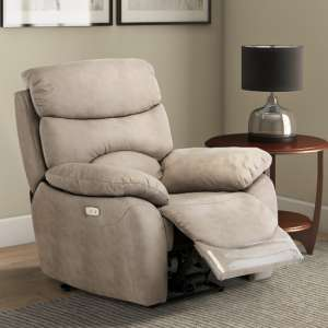 Layla Fabric Electric Recliner Armchair In Natural