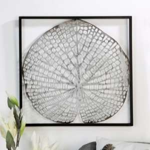 Leaf Metal Wall Art In Silver With Antique Dark Brown Frame