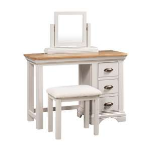 Leanne Dressing Table With Mirror And Stool In Stone White