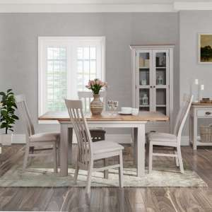 Leanne Large Dining Table In Stone White With Six Dining Chairs