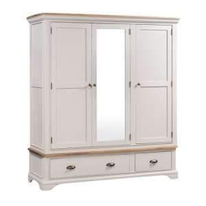 Leanne Mirrored Wardrobe In Stone Washed White Finish