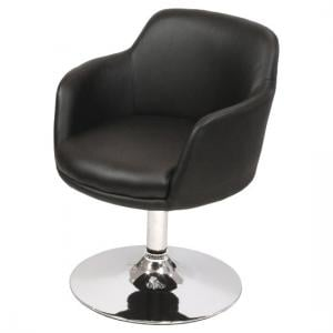 Bucketeer Bar Chair In Black Faux Leather With Chrome Base