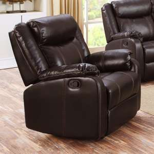 Leeds LeatherLux And PU Recliner 1 Seater Sofa In Espresso