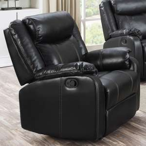 Leeds LeatherLux And PU Recliner 1 Seater Sofa In Gun Metal
