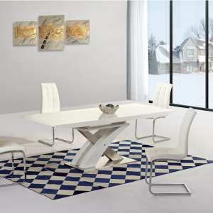Leeven Glass Extending Dining Table In White High Gloss