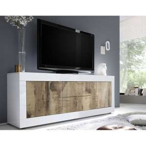 Taylor Wooden TV Stand In White High Gloss And Pero