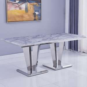 Leming Marble Large Dining Table In Grey With Twin Pedestal