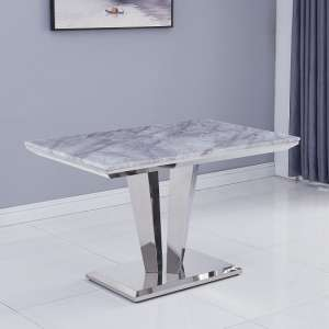 Leming Marble Small Dining Table In Grey With Chrome Base