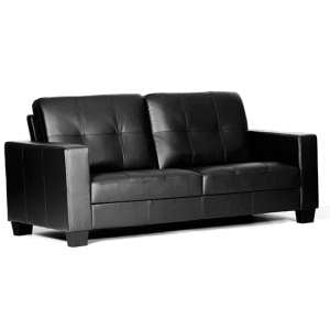 Lena Leather And PVC Bonded 3 Seater Sofa In Black