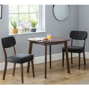 Lennox Dining Set In Walnut With 2 Farringdon Grey Linen Chairs