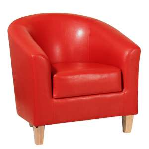 Leporis PU Leather 1 Seater Sofa In Red