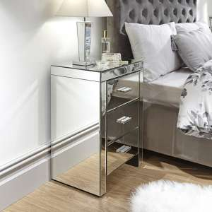 Lepus Bedside Cabinet In Clear With 3 Drawers