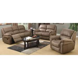 Lerna Fabric 3 Seater Sofa And 2 Armchairs Suite In Taupe