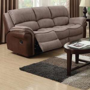 Lerna Fusion Fabric 3 Seater Sofa In Taupe And Tan