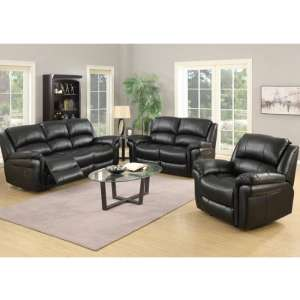 Lerna Leather 3 Seater Sofa And 2 Armchairs Suite In Black