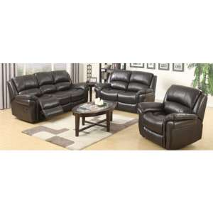 Lerna Leather 3 Seater Sofa And 2 Armchairs Suite In Brown