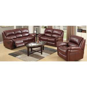 Lerna Leather 3 Seater Sofa And 2 Armchairs Suite In Burgundy
