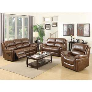 Lerna Leather 3 Seater Sofa And 2 Armchairs Suite In Tan