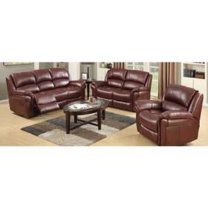 Lerna Leather 3 Seater Sofa And 2 Seater Sofa Suite In Burgundy