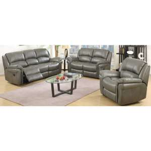 Lerna Leather 3 Seater Sofa And 2 Seater Sofa Suite In Grey