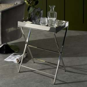 Lesath Mirrored Drinks Trolley In Polished Nickel