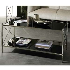 Lester Mirrored Coffee Table In Black With Nickel Finish Frame