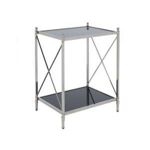 Lester Mirrored Side Table In Black With Nickel Finish Frame